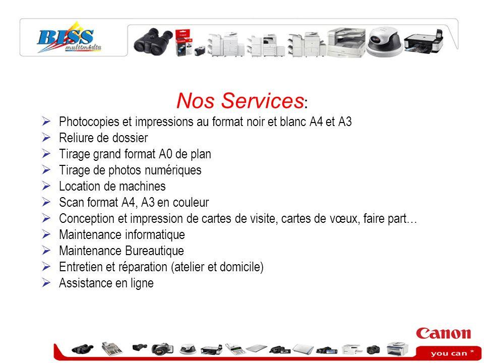Nos Services: Photocopies et impressions au format noir et blanc A4 et A3. Reliure de dossier. Tirage grand format A0 de plan.