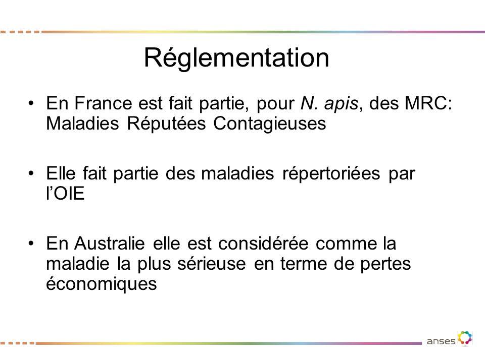 Réglementation En France est fait partie, pour N. apis, des MRC: Maladies Réputées Contagieuses.