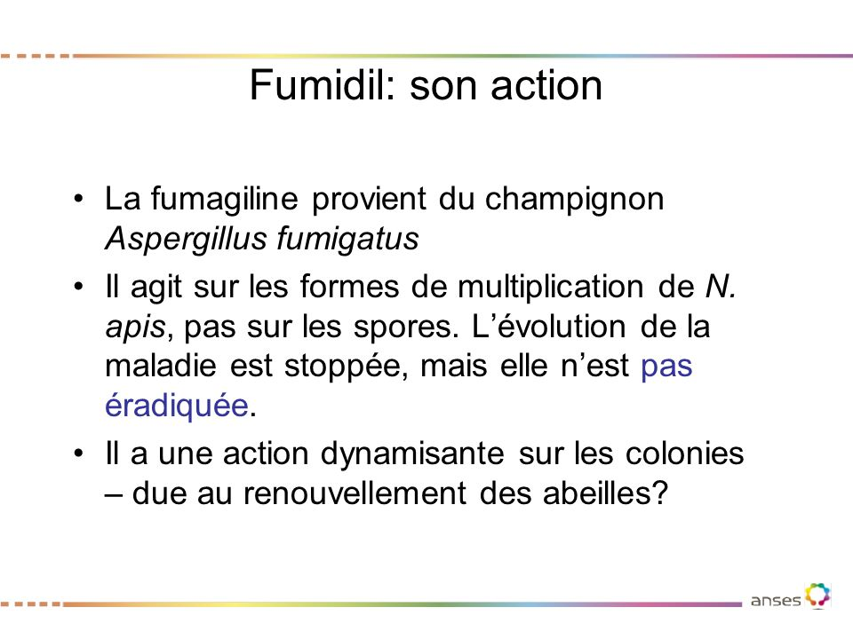 Fumidil: son action La fumagiline provient du champignon Aspergillus fumigatus.