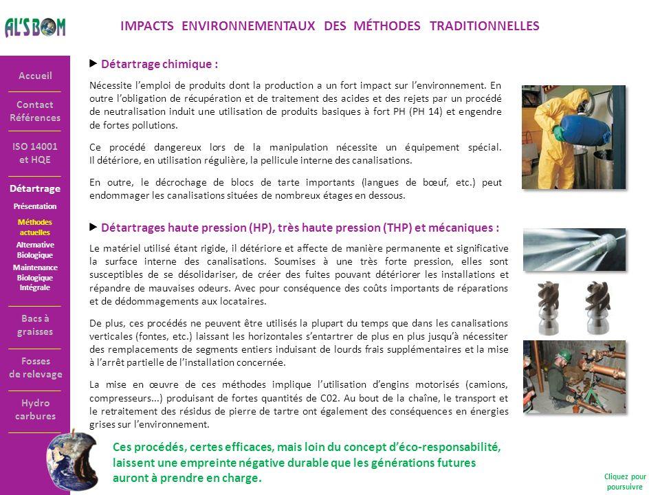 IMPACTS ENVIRONNEMENTAUX DES MÉTHODES TRADITIONNELLES
