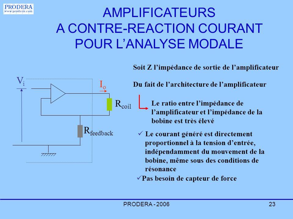 AMPLIFICATEURS A CONTRE-REACTION COURANT POUR L'ANALYSE MODALE