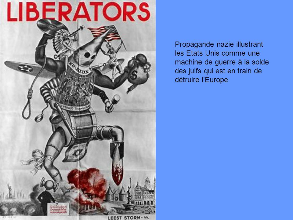 Propagande nazie illustrant les Etats Unis comme une machine de guerre à la solde des juifs qui est en train de détruire l'Europe