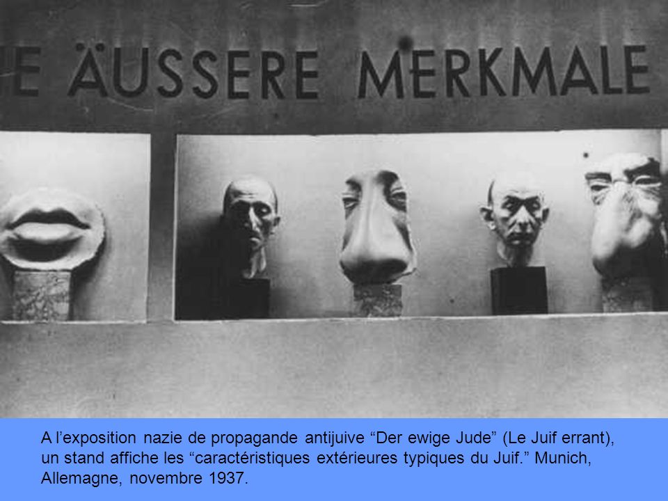 A l'exposition nazie de propagande antijuive Der ewige Jude (Le Juif errant), un stand affiche les caractéristiques extérieures typiques du Juif. Munich, Allemagne, novembre 1937.
