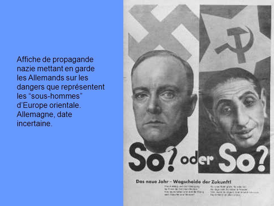 Affiche de propagande nazie mettant en garde les Allemands sur les dangers que représentent les sous-hommes d'Europe orientale.
