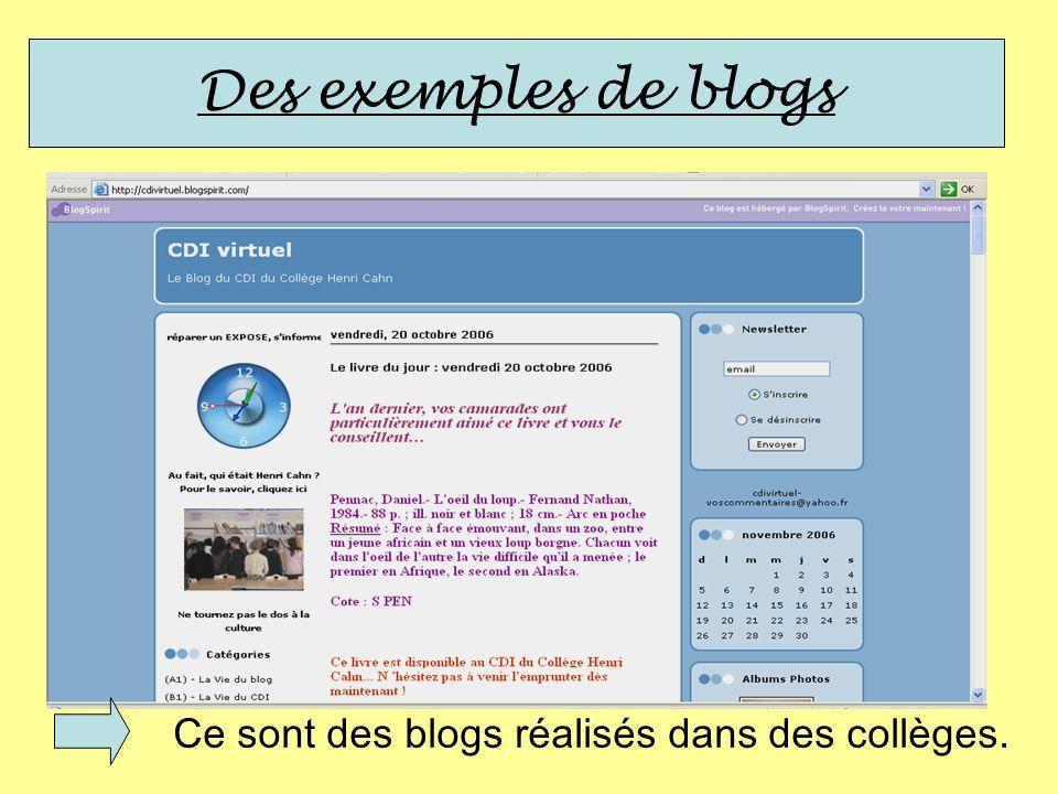 Des exemples de blogs Ce sont des blogs réalisés dans des collèges.
