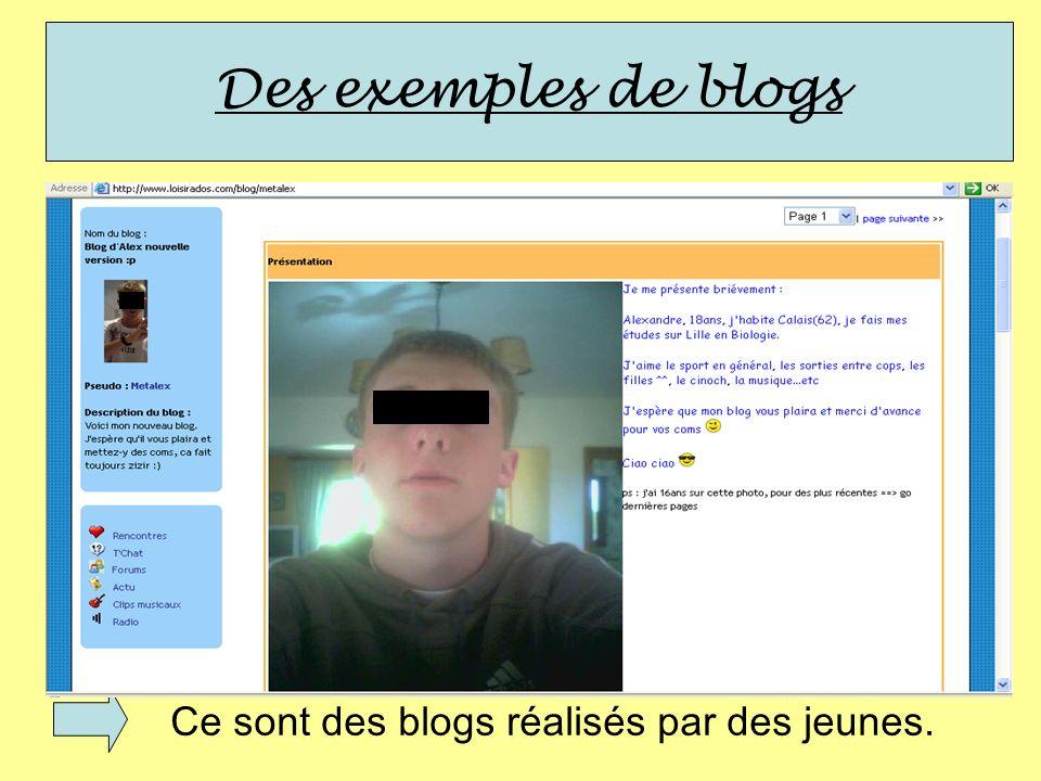 Des exemples de blogs Ce sont des blogs réalisés par des jeunes.