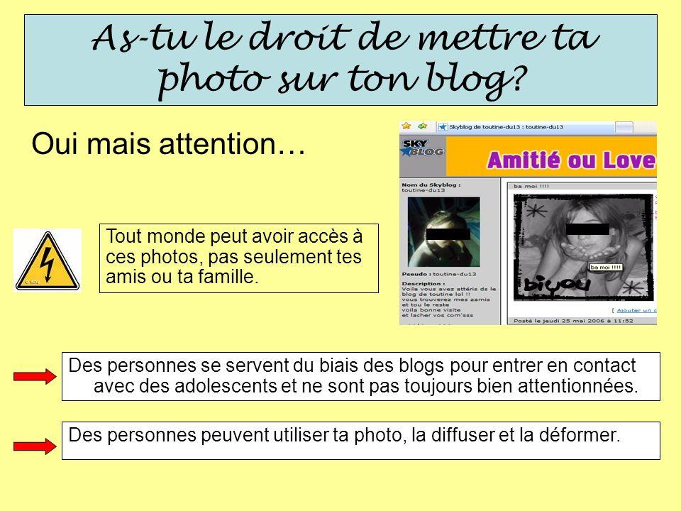 As-tu le droit de mettre ta photo sur ton blog