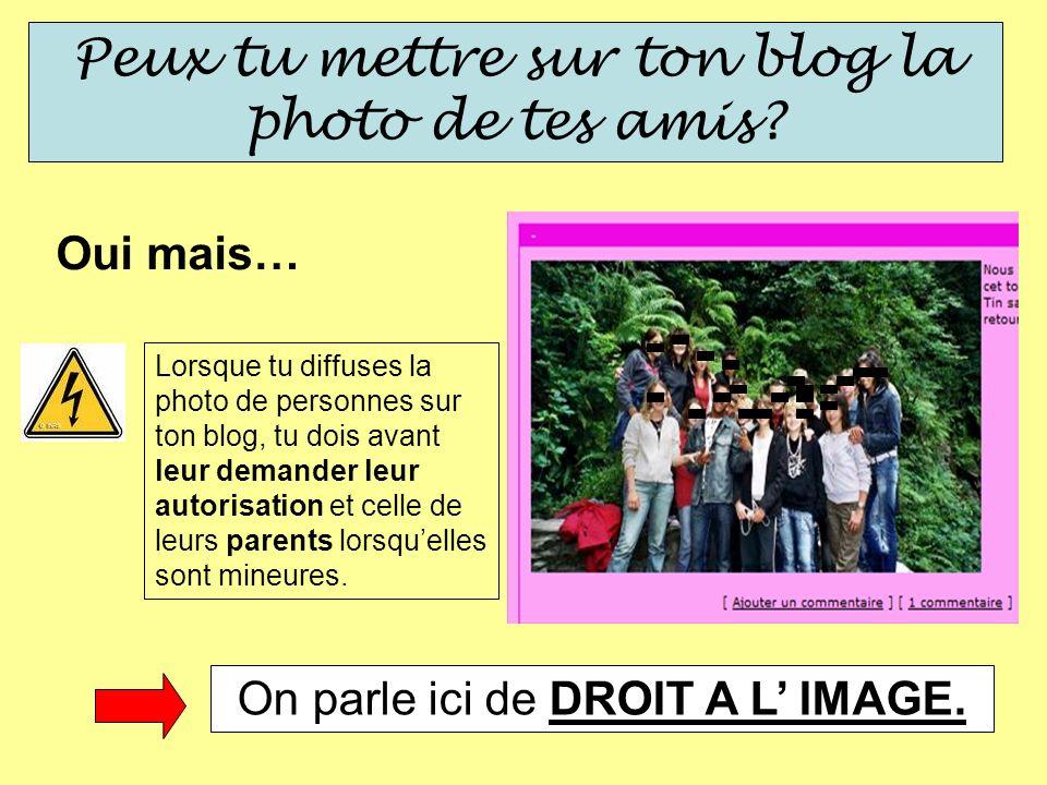 Peux tu mettre sur ton blog la photo de tes amis