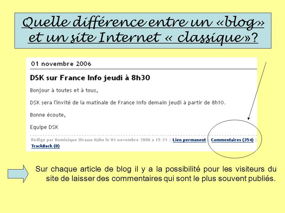 Quelle différence entre un «blog» et un site Internet « classique »