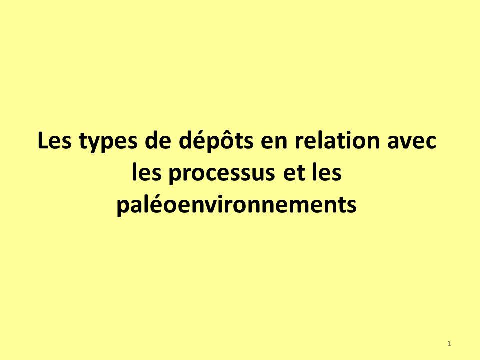 Les types de dépôts en relation avec les processus et les paléoenvironnements