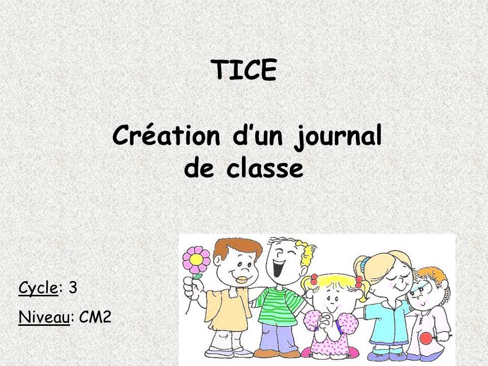 TICE Création d'un journal de classe