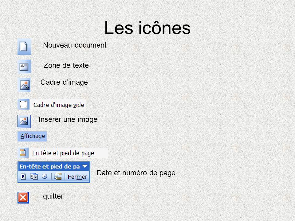 Les icônes Nouveau document Zone de texte Cadre d'image
