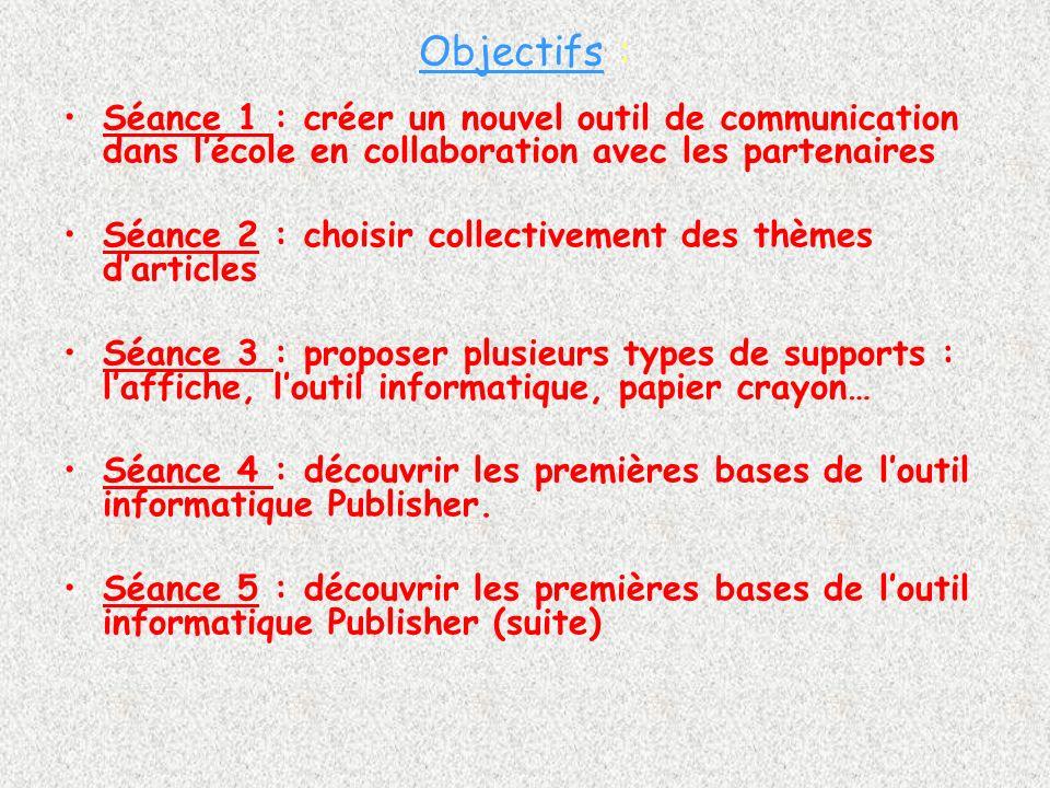 Objectifs : Séance 1 : créer un nouvel outil de communication dans l'école en collaboration avec les partenaires.