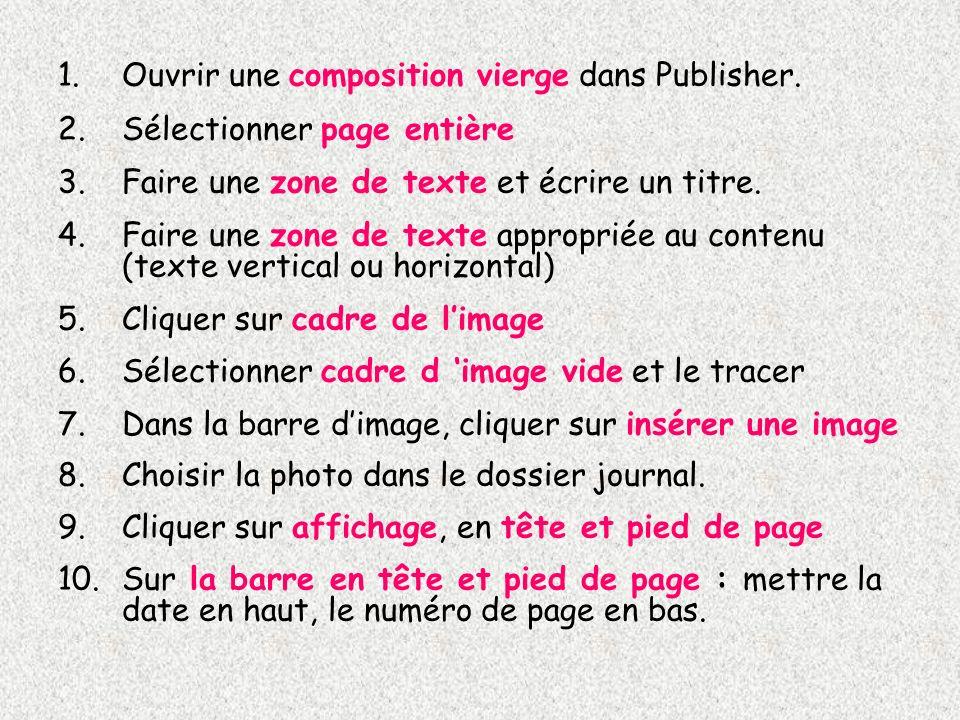 Ouvrir une composition vierge dans Publisher.
