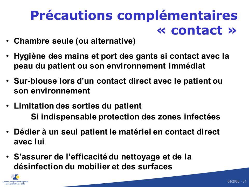 Précautions complémentaires « contact »