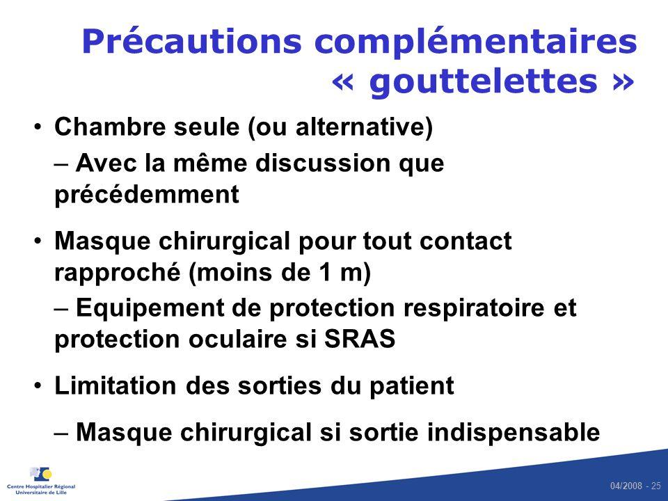 Précautions complémentaires « gouttelettes »