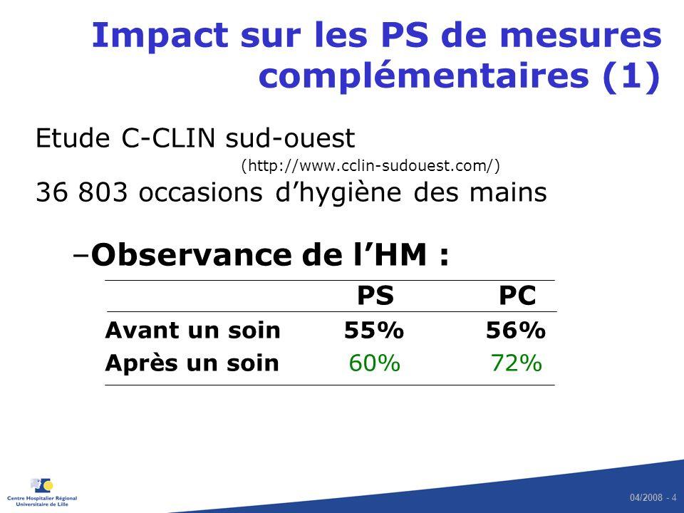 Impact sur les PS de mesures complémentaires (1)