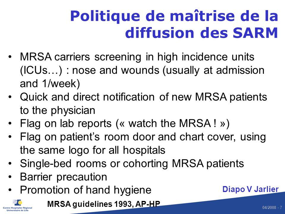 Politique de maîtrise de la diffusion des SARM