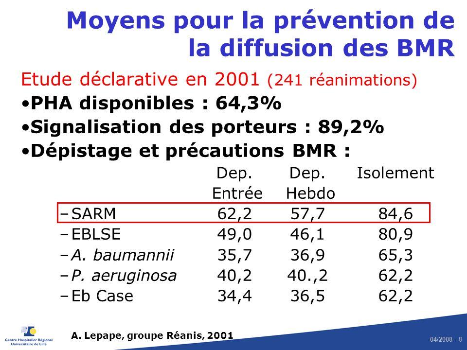 Moyens pour la prévention de la diffusion des BMR