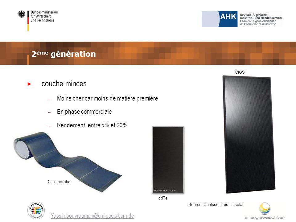 couche minces 2ème génération Moins cher car moins de matière première