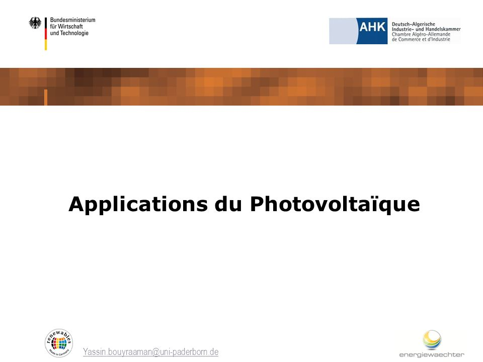 Applications du Photovoltaïque