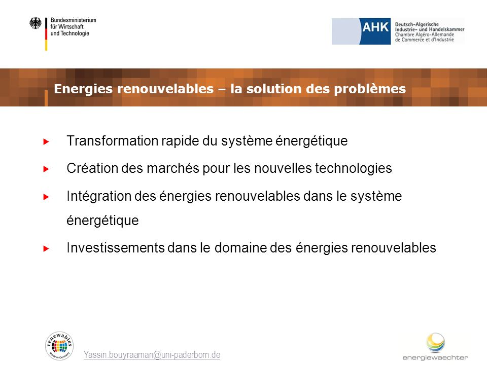 Energies renouvelables – la solution des problèmes