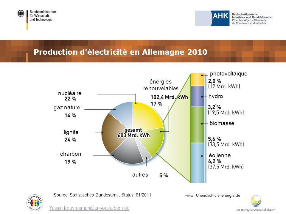 Production d'électricité en Allemagne 2010