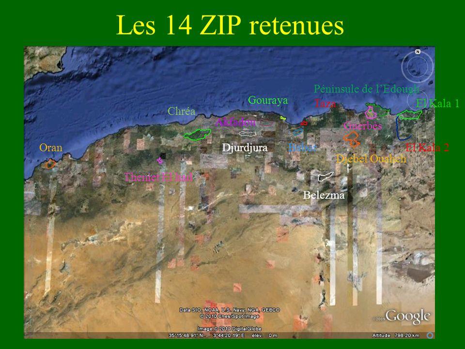 Les 14 ZIP retenues Péninsule de l'Edough Gouraya Taza El Kala 1 Chréa