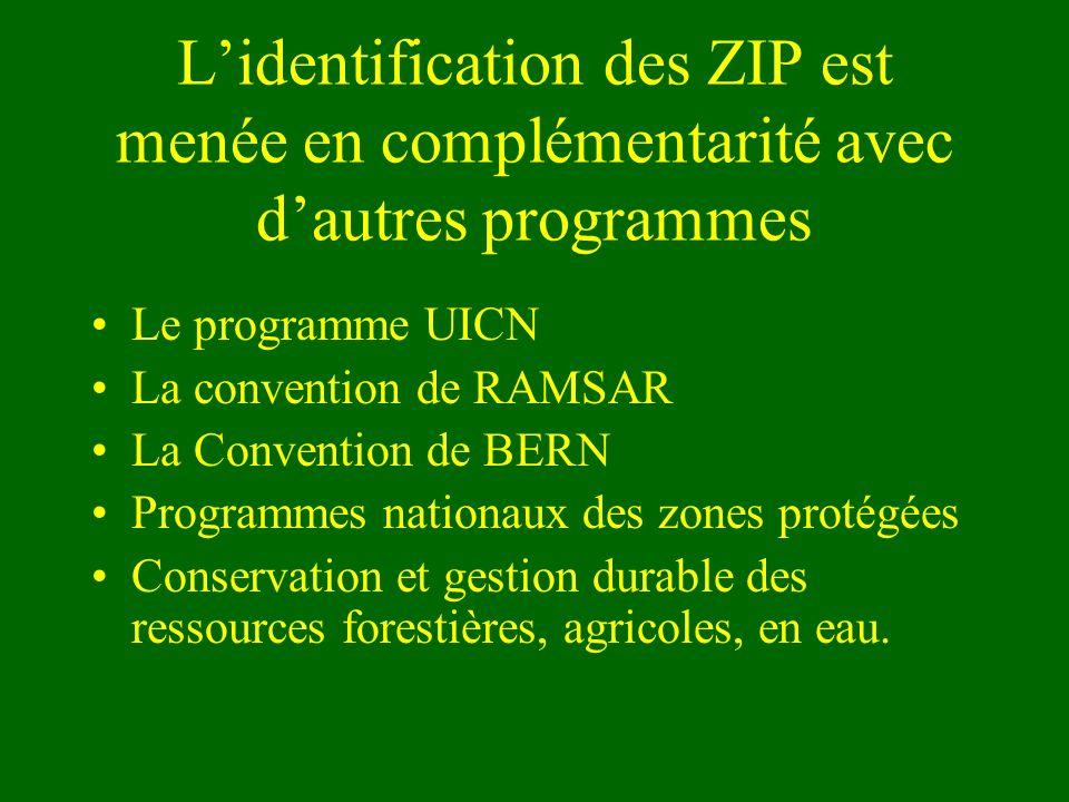 L'identification des ZIP est menée en complémentarité avec d'autres programmes