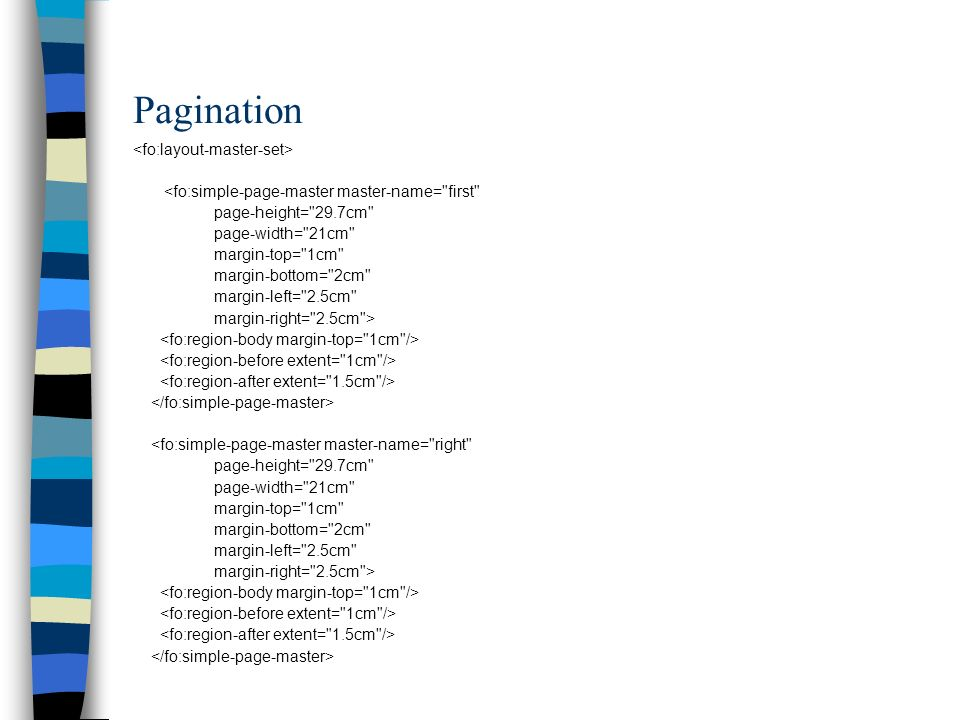 Pagination <fo:layout-master-set>
