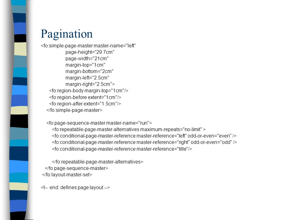 Pagination <fo:simple-page-master master-name= left