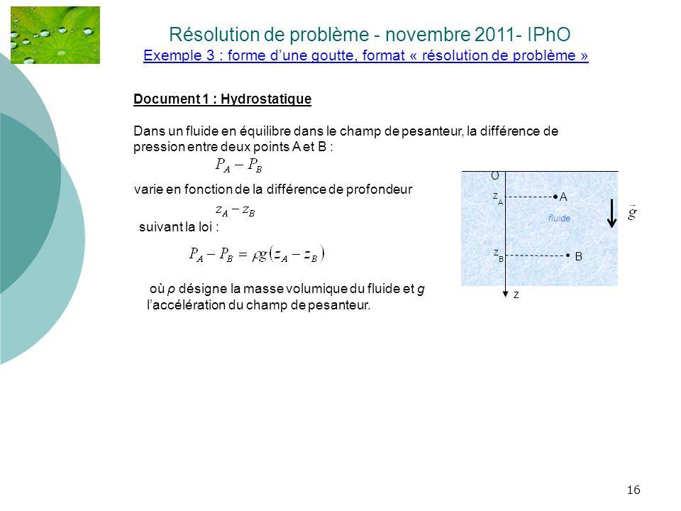 Exemple 3 : forme d'une goutte, format « résolution de problème »