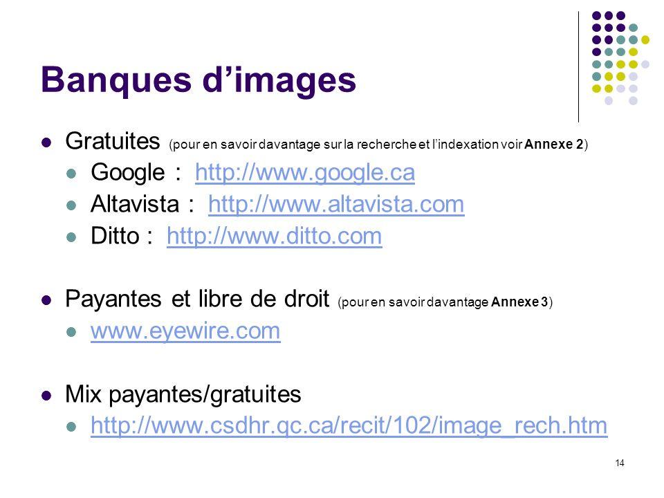 Banques d'images Gratuites (pour en savoir davantage sur la recherche et l'indexation voir Annexe 2)