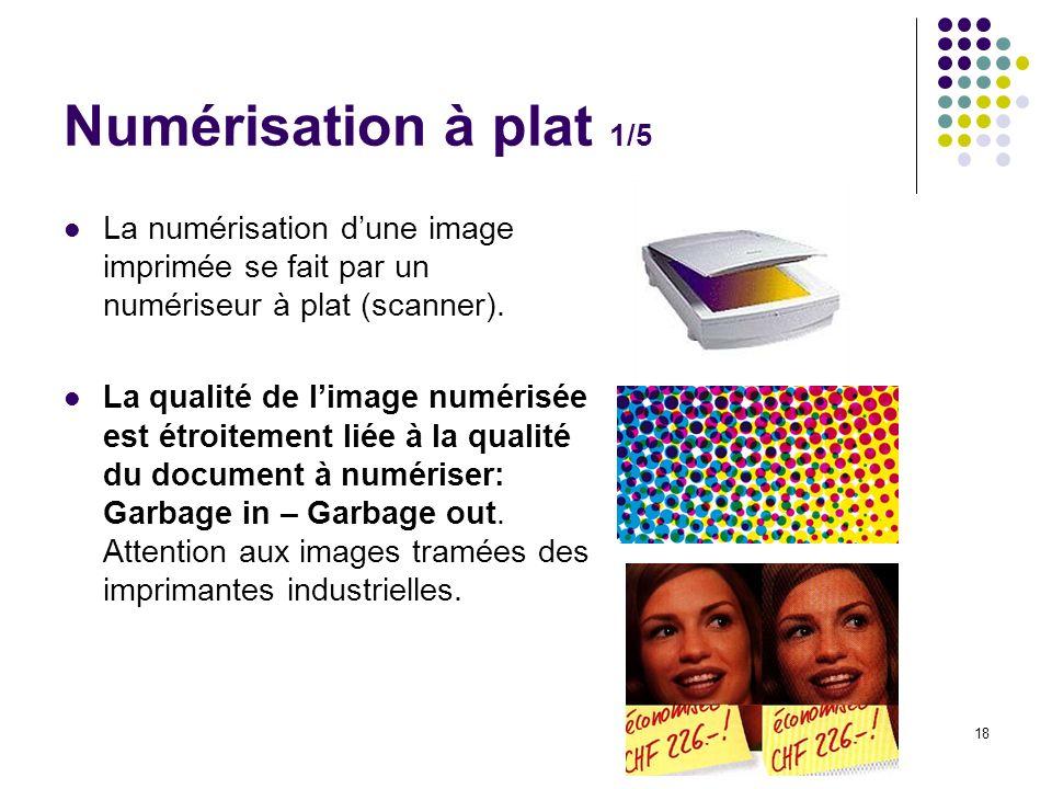 Numérisation à plat 1/5 La numérisation d'une image imprimée se fait par un numériseur à plat (scanner).