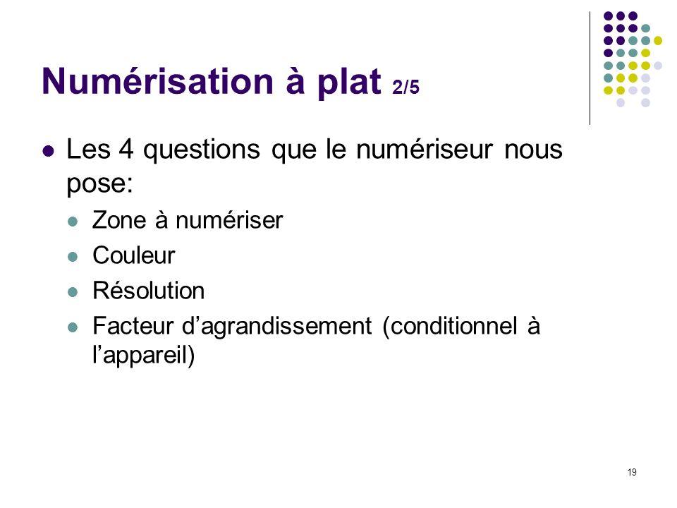 Numérisation à plat 2/5 Les 4 questions que le numériseur nous pose: