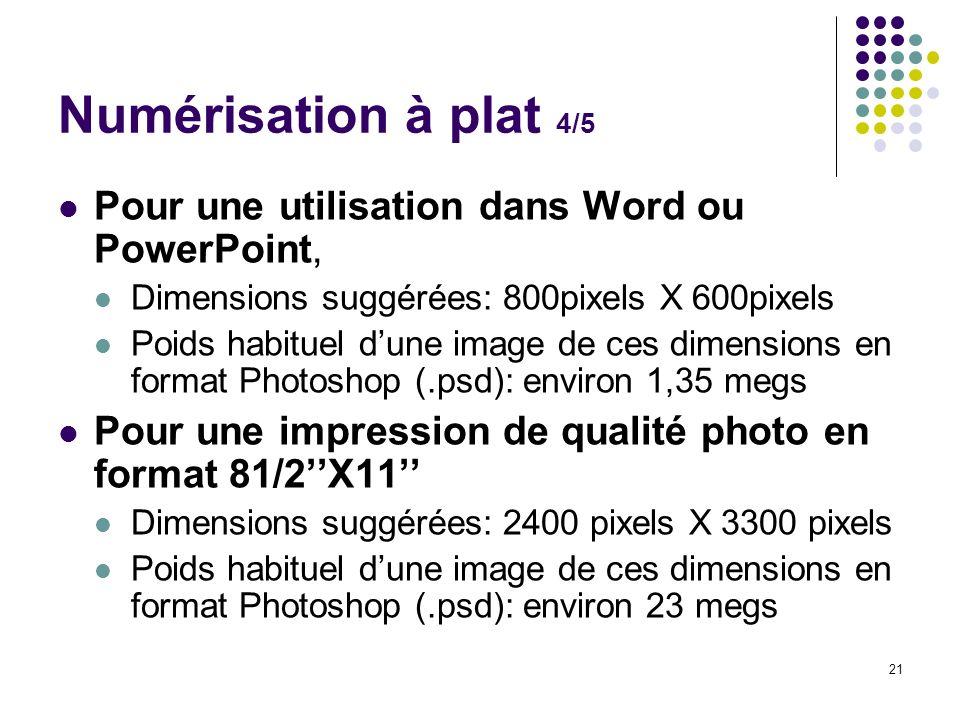 Numérisation à plat 4/5 Pour une utilisation dans Word ou PowerPoint,