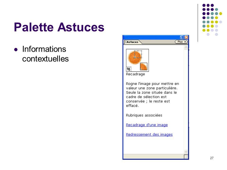 Palette Astuces Informations contextuelles