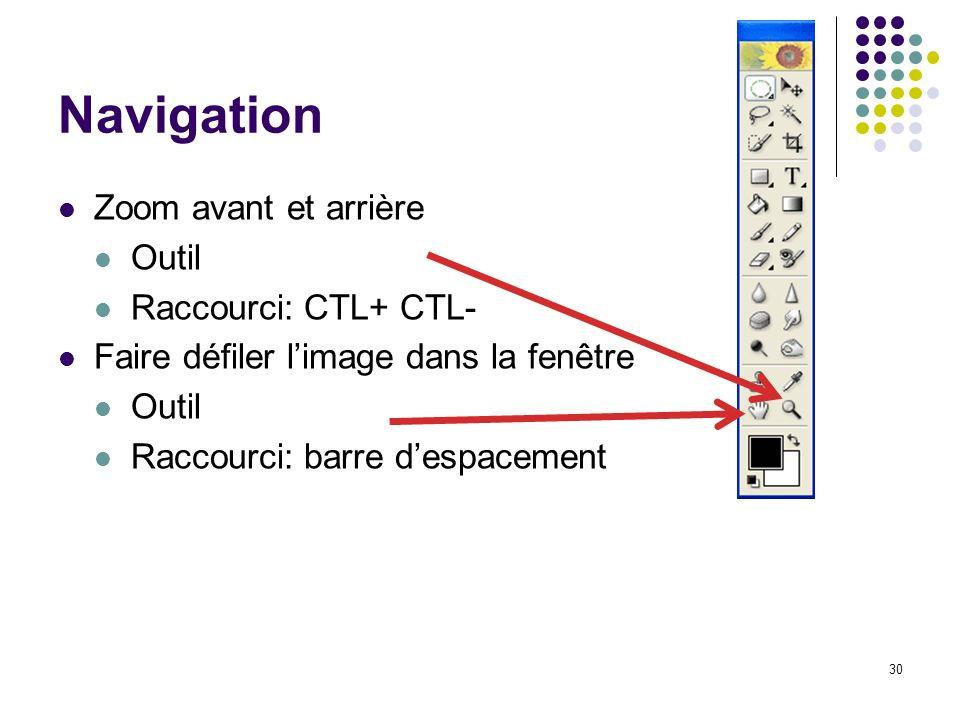 Navigation Zoom avant et arrière Outil Raccourci: CTL+ CTL-