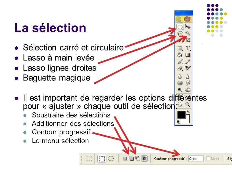 La sélection Sélection carré et circulaire Lasso à main levée