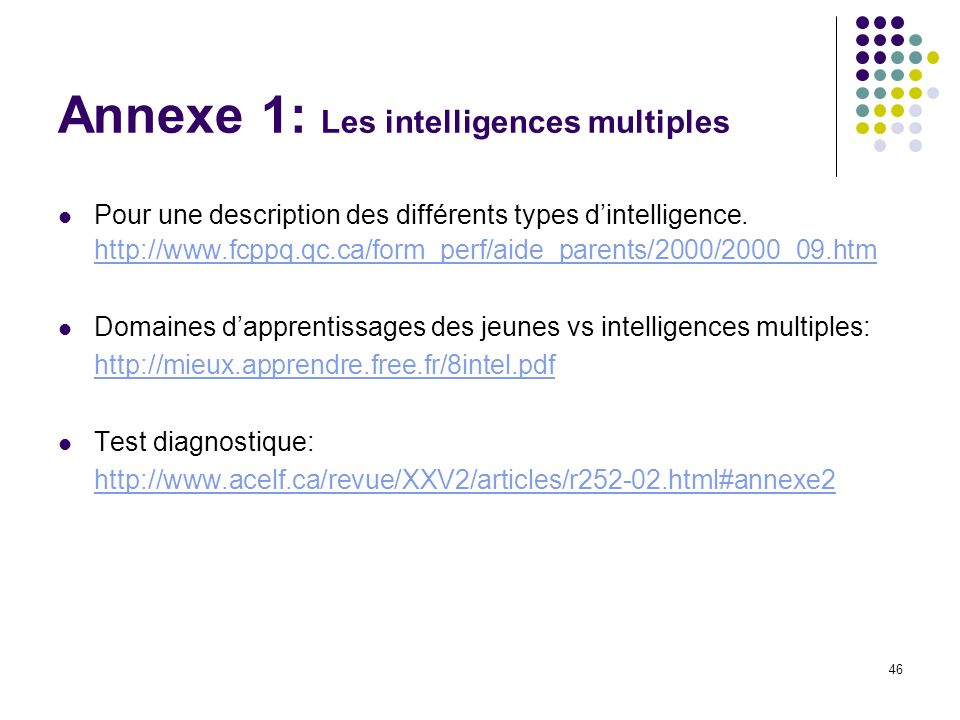 Annexe 1: Les intelligences multiples