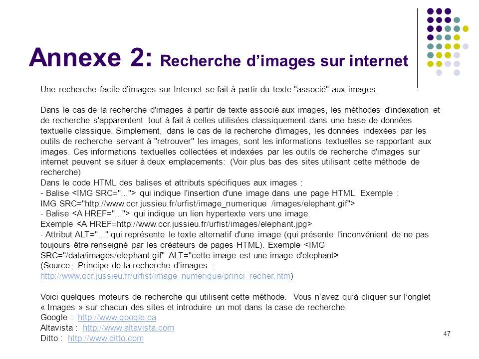 Annexe 2: Recherche d'images sur internet