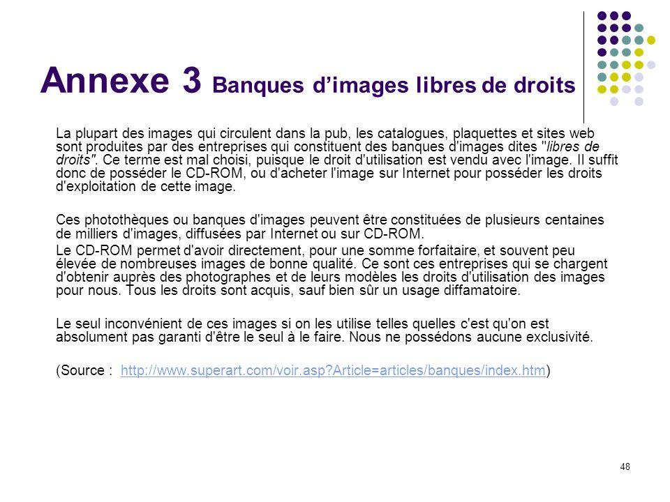 Annexe 3 Banques d'images libres de droits