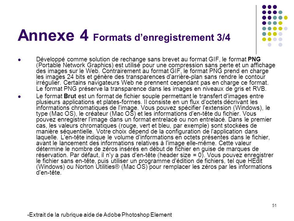 Annexe 4 Formats d'enregistrement 3/4