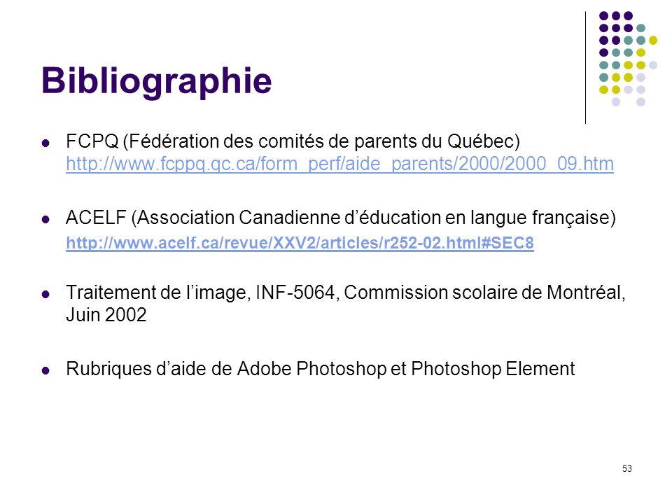 Bibliographie FCPQ (Fédération des comités de parents du Québec) http://www.fcppq.qc.ca/form_perf/aide_parents/2000/2000_09.htm.