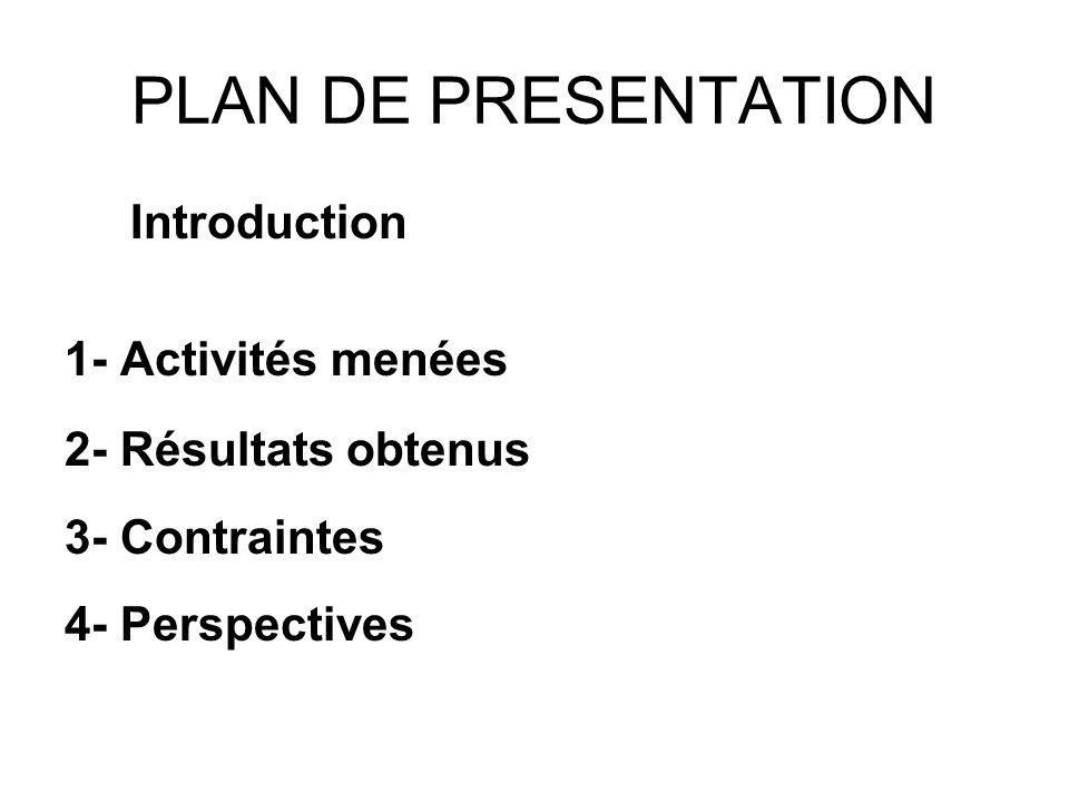 PLAN DE PRESENTATION Introduction 1- Activités menées