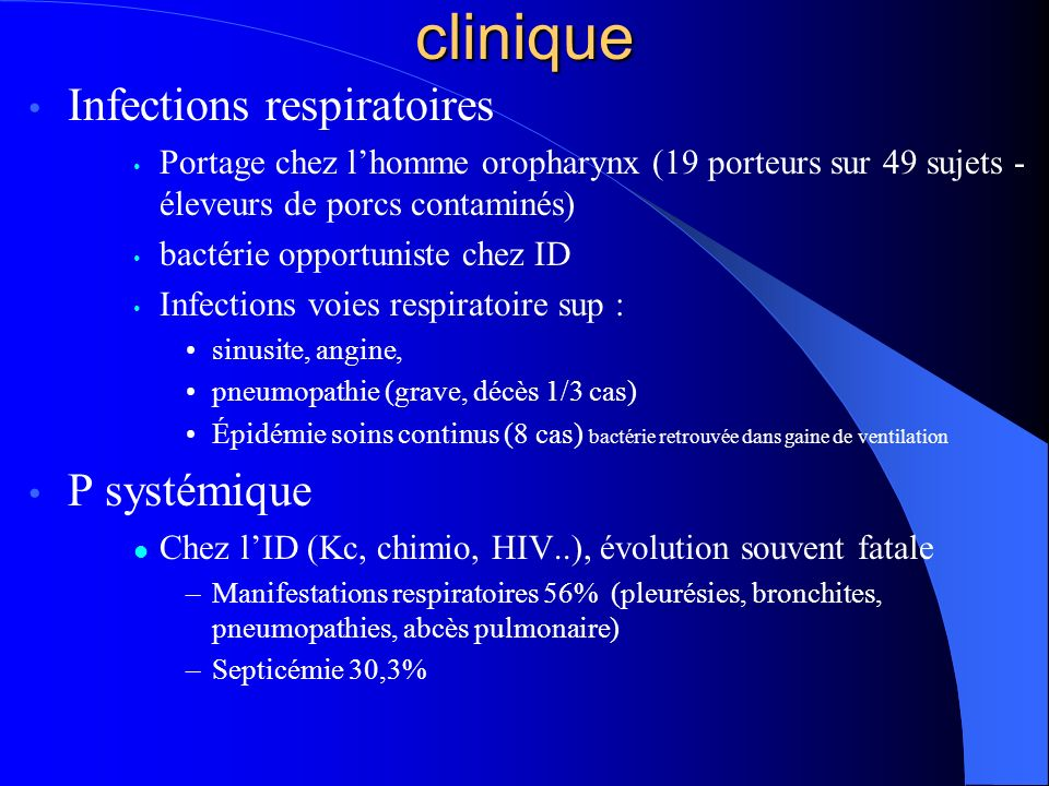 clinique Infections respiratoires P systémique