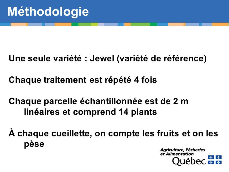 Méthodologie Une seule variété : Jewel (variété de référence)