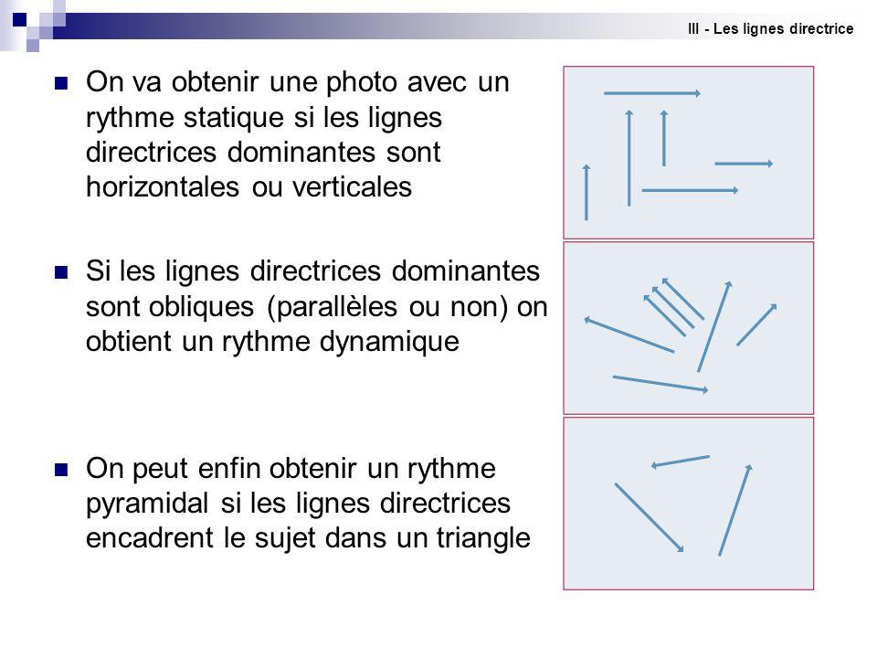 III - Les lignes directrice
