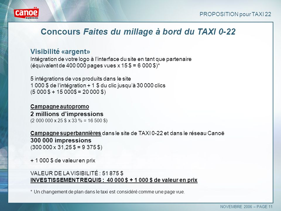 Concours Faites du millage à bord du TAXI 0-22