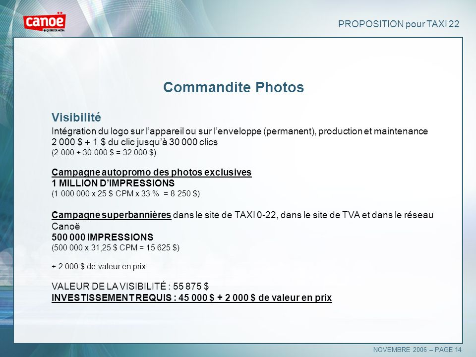 Commandite Photos Visibilité